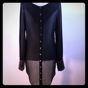 BOGO ♡Double Zero Sheer High Low Studded Blouse